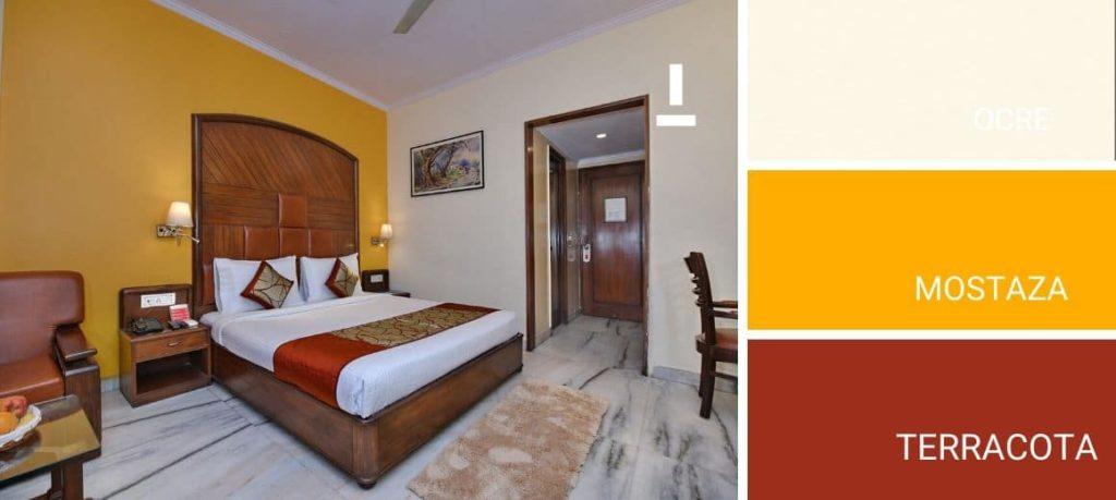 Dormitorio pintado en gama de ocres