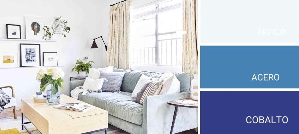 Salon pintado con colores azules